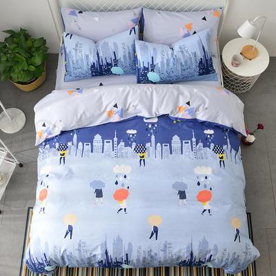 40支全棉13070四件套 简约时尚纯棉四件套北欧活性印花全棉双人床单被套床上用品四件套 1.2米床三件套 初恋心情