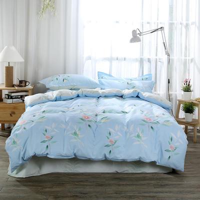 40支全棉13070四件套 简约时尚纯棉四件套北欧活性印花全棉双人床单被套床上用品四件套 1.2米床三件套 春日畅想