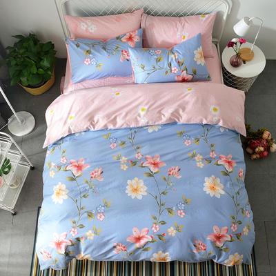 40支全棉13070四件套 简约时尚纯棉四件套北欧活性印花全棉双人床单被套床上用品四件套 1.2米床三件套 海蒂花园