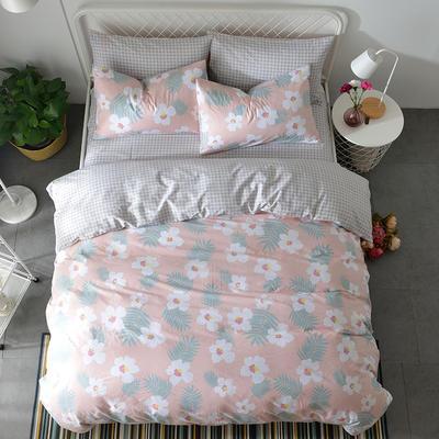 40支全棉13070四件套 简约时尚纯棉四件套北欧活性印花全棉双人床单被套床上用品四件套 1.2米床三件套 花叶-粉