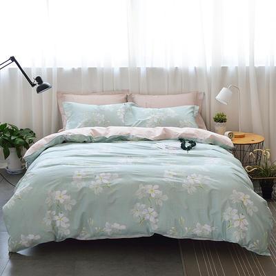 40支全棉13070四件套 简约时尚纯棉四件套北欧活性印花全棉双人床单被套床上用品四件套 1.2米床三件套 兰韵