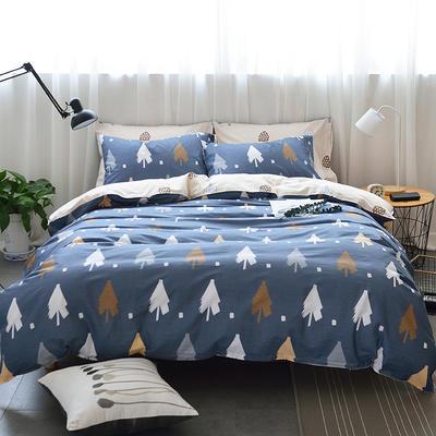 40支全棉13070四件套 简约时尚纯棉四件套北欧活性印花全棉双人床单被套床上用品四件套 1.2米床三件套 暮色森林