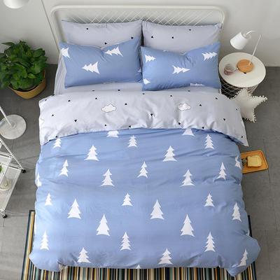 海豚湾  40支全棉13070四件套 简约时尚纯棉四件套北欧活性印花全棉双人床单被套床上用品四件套 1.5米~1.8米床四件套 青春记忆