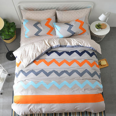 海豚湾  40支全棉13070四件套 简约时尚纯棉四件套北欧活性印花全棉双人床单被套床上用品四件套 1.5米~1.8米床四件套 情怀