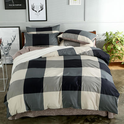 海豚湾  40支全棉13070四件套 简约时尚纯棉四件套北欧活性印花全棉双人床单被套床上用品四件套 1.5米~1.8米床四件套 午后阳光