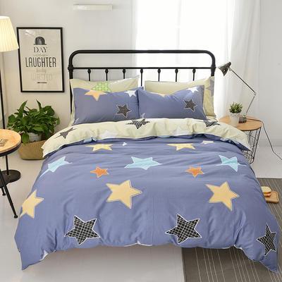 海豚湾  40支全棉13070四件套 简约时尚纯棉四件套北欧活性印花全棉双人床单被套床上用品四件套 1.2米床三件套 星空-蓝