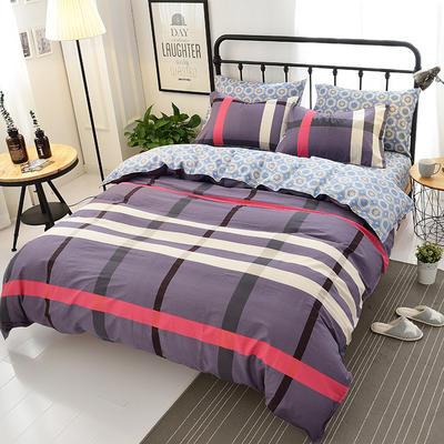 海豚湾  40支全棉13070四件套 简约时尚纯棉四件套北欧活性印花全棉双人床单被套床上用品四件套 1.2米床三件套 最终幻想-红