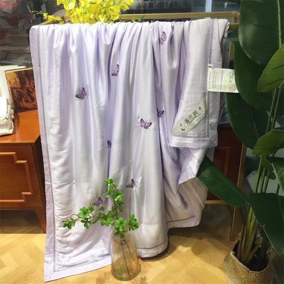 海豚湾 厂家直销刺绣蚕丝被100桑蚕丝被蚕丝夏凉被空调蚕丝被礼品批发 200X230cm 蝶舞-紫色