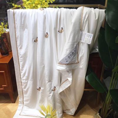 海豚湾 厂家直销刺绣蚕丝被100桑蚕丝被蚕丝夏凉被空调蚕丝被礼品批发 200X230cm 蝶舞-白色
