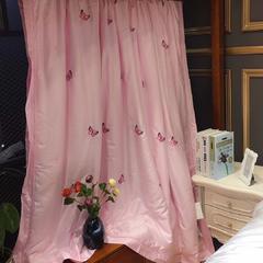 海豚湾 厂家直销刺绣蚕丝被100桑蚕丝被蚕丝夏凉被空调蚕丝被礼品批发 200X230cm 蝶舞-粉色