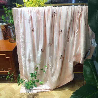 海豚湾 厂家直销刺绣蚕丝被100桑蚕丝被蚕丝夏凉被空调蚕丝被礼品批发 200X230cm 蝶舞-玉色