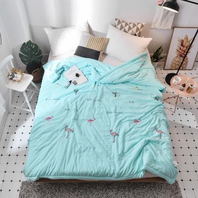 爆款火烈鸟手包边绣花刺绣水洗棉夏被舒适夏被空调被微商一件代发 200X230cm 火烈鸟-绿