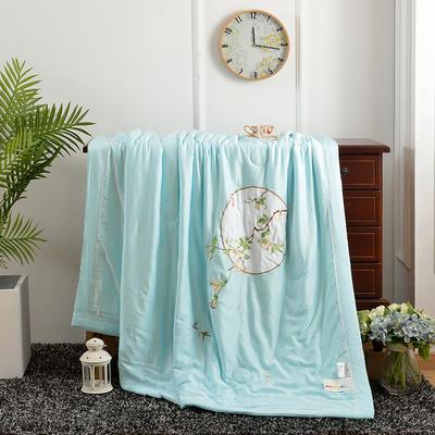 海豚湾 直销高档中国风刺绣莫代尔天丝夏被双人空调被可水洗机洗夏凉被 200X230cm 花好月圆-绿