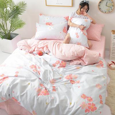 2018新款第一批 40s纯棉四件套 斜纹良品花卉全棉三件套礼品可定做双人床包四件套床笠一件代发 1.8m(6英尺)床 粉樱漫舞