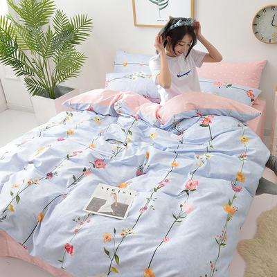 2018新款第一批 40s纯棉四件套 斜纹良品花卉全棉三件套礼品可定做双人床包四件套床笠一件代发 1.8m(6英尺)床 花语
