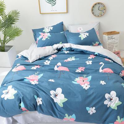 40s纯棉四件套 斜纹良品花卉全棉三件套礼品可定做双人床包四件套床笠一件代发 1.2m(4英尺)床 时尚火鸟-兰