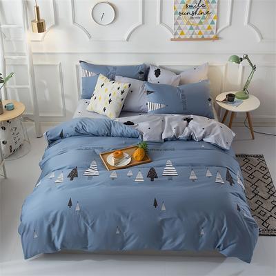 13070 简约时尚40支100%纯棉四件套 床单床笠一件代发 1.2m(4英尺)床 新视觉