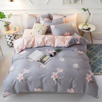 花卉花朵40支100%纯棉四件套 床单床笠一件代发 1.2m(4英尺)床 胭脂恋曲-蓝
