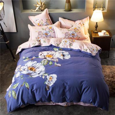 海豚湾家纺 全棉磨毛四件套加厚纯棉2.0m被套床单婚庆床上用品 1.5m(5英尺)床 出水芙蓉-灰
