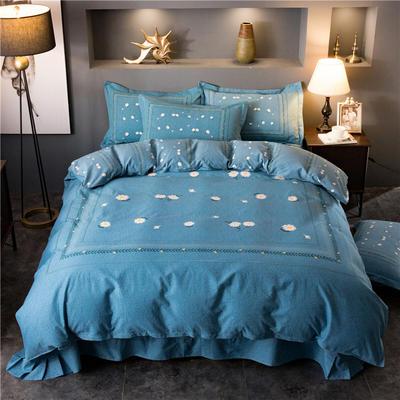 海豚湾家纺 全棉磨毛四件套加厚纯棉2.0m被套床单婚庆床上用品 1.8m(6英尺)床 雏菊