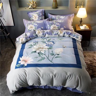 海豚湾家纺 全棉磨毛四件套加厚纯棉2.0m被套床单婚庆床上用品 1.8m(6英尺)床 蝶舞