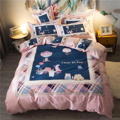 海豚湾家纺 全棉磨毛四件套加厚纯棉2.0m被套床单婚庆床上用品 1.8m(6英尺)床 粉色派对