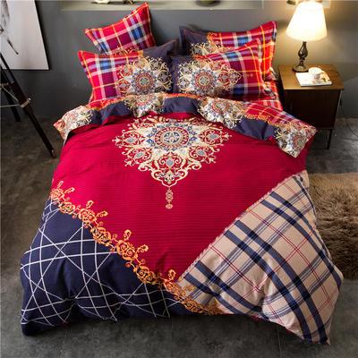 海豚湾家纺 全棉磨毛四件套加厚纯棉2.0m被套床单婚庆床上用品 1.8m(6英尺)床 格调生活