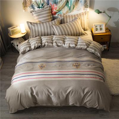 海豚湾家纺 全棉磨毛四件套加厚纯棉2.0m被套床单婚庆床上用品 1.8m(6英尺)床 海军之行