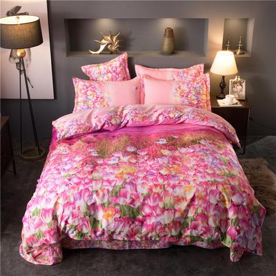 海豚湾家纺 全棉磨毛四件套加厚纯棉2.0m被套床单婚庆床上用品 1.8m(6英尺)床 花海沁园