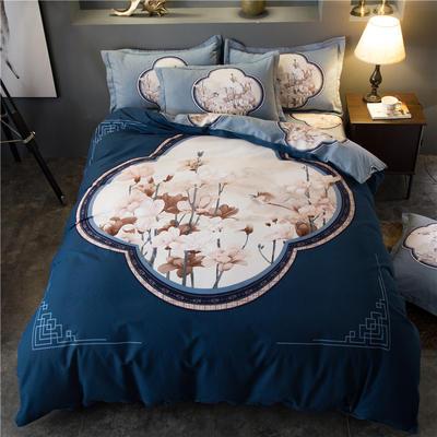 海豚湾家纺 全棉磨毛四件套加厚纯棉2.0m被套床单婚庆床上用品 1.8m(6英尺)床 华风鸟月