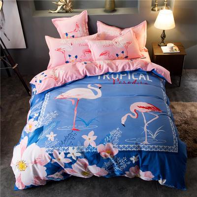 海豚湾家纺 全棉磨毛四件套加厚纯棉2.0m被套床单婚庆床上用品 1.8m(6英尺)床 火烈鸟