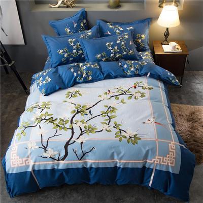 海豚湾家纺 全棉磨毛四件套加厚纯棉2.0m被套床单婚庆床上用品 1.8m(6英尺)床 兰亭集序