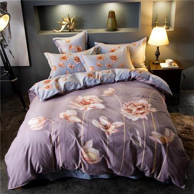 海豚湾家纺 全棉磨毛四件套加厚纯棉2.0m被套床单婚庆床上用品 1.8m(6英尺)床 玲澜