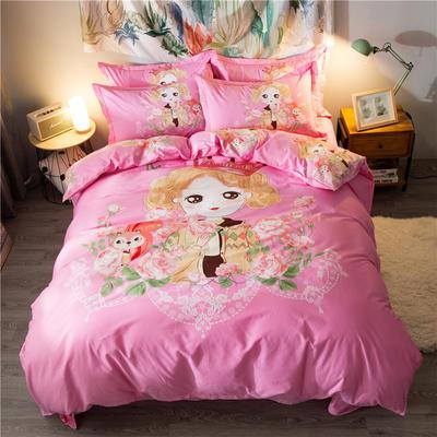 海豚湾家纺 全棉磨毛四件套加厚纯棉2.0m被套床单婚庆床上用品 1.8m(6英尺)床 玛丽公主