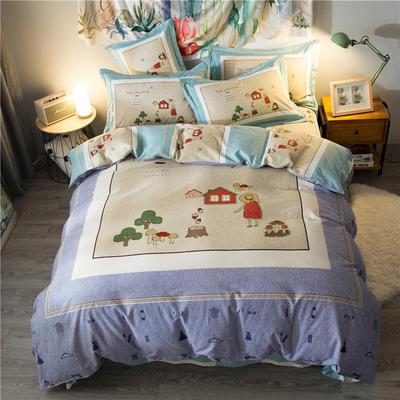 海豚湾家纺 全棉磨毛四件套加厚纯棉2.0m被套床单婚庆床上用品 1.8m(6英尺)床 蘑菇姑娘