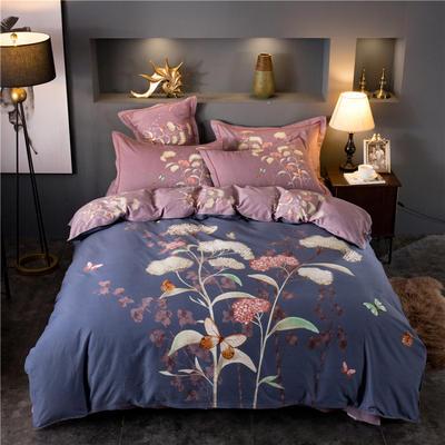 海豚湾家纺 全棉磨毛四件套加厚纯棉2.0m被套床单婚庆床上用品 1.8m(6英尺)床 慕斯