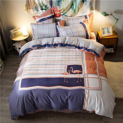 海豚湾家纺 全棉磨毛四件套加厚纯棉2.0m被套床单婚庆床上用品 1.8m(6英尺)床 娜德