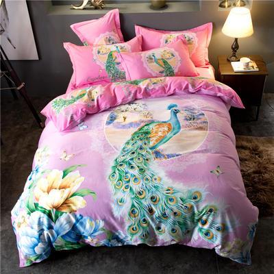 海豚湾家纺 全棉磨毛四件套加厚纯棉2.0m被套床单婚庆床上用品 1.8m(6英尺)床 雀之灵-粉