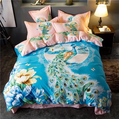 海豚湾家纺 全棉磨毛四件套加厚纯棉2.0m被套床单婚庆床上用品 1.8m(6英尺)床 雀之灵-蓝