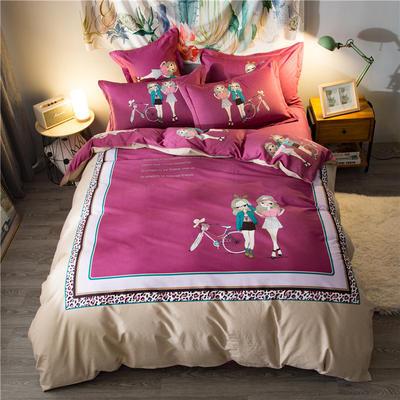 海豚湾家纺 全棉磨毛四件套加厚纯棉2.0m被套床单婚庆床上用品 1.8m(6英尺)床 少女心情