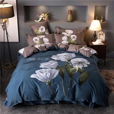 海豚湾家纺 全棉磨毛四件套加厚纯棉2.0m被套床单婚庆床上用品 1.8m(6英尺)床 绅士品格-灰