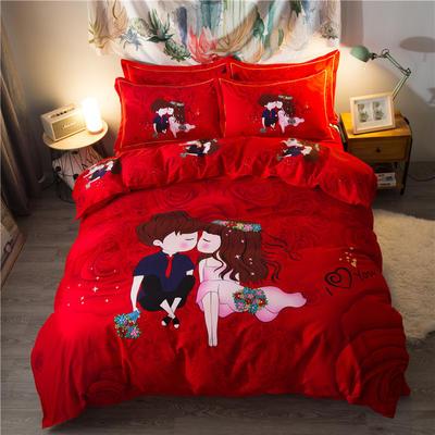 海豚湾家纺 全棉磨毛四件套加厚纯棉2.0m被套床单婚庆床上用品 1.8m(6英尺)床 稳稳的幸福