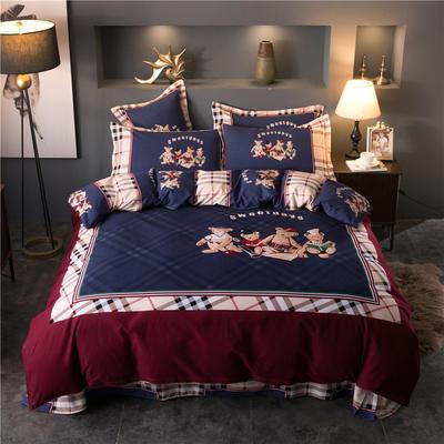 海豚湾家纺 全棉磨毛四件套加厚纯棉2.0m被套床单婚庆床上用品 1.8m(6英尺)床 小熊乐园
