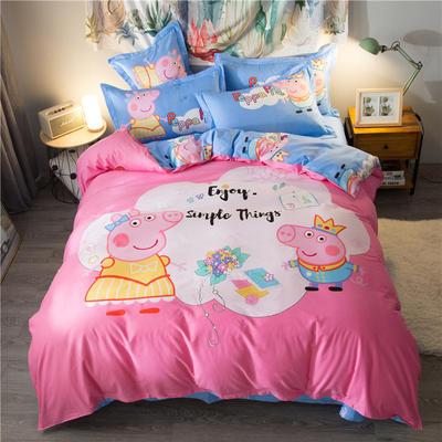 海豚湾家纺 全棉磨毛四件套加厚纯棉2.0m被套床单婚庆床上用品 1.8m(6英尺)床 小猪佩奇