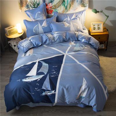 海豚湾家纺 全棉磨毛四件套加厚纯棉2.0m被套床单婚庆床上用品 1.5m(5英尺)床 扬帆