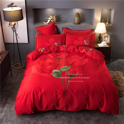 海豚湾家纺 全棉磨毛四件套加厚纯棉2.0m被套床单婚庆床上用品 1.8m(6英尺)床 永恒爱恋