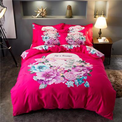 海豚湾家纺 全棉磨毛四件套加厚纯棉2.0m被套床单婚庆床上用品 1.5m(5英尺)床 幽雅花姿-玫红
