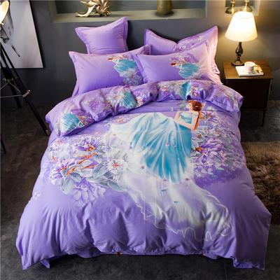 海豚湾家纺 全棉磨毛四件套加厚纯棉2.0m被套床单婚庆床上用品 1.5m(5英尺)床 虞美人-紫