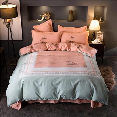 海豚湾家纺 全棉磨毛四件套加厚纯棉2.0m被套床单婚庆床上用品 1.5m(5英尺)床 在水一方