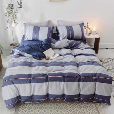 海豚湾家纺 秋冬季保暖棉加绒四件套AB版水晶绒A面棉B面绒宝宝绒珊瑚绒法莱绒 1.8m(6英尺)床 格云神话-蓝
